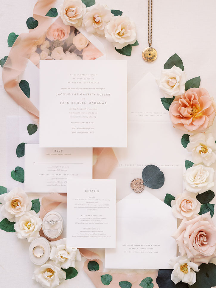 Photo of flatlay wedding invitation suite for contact form